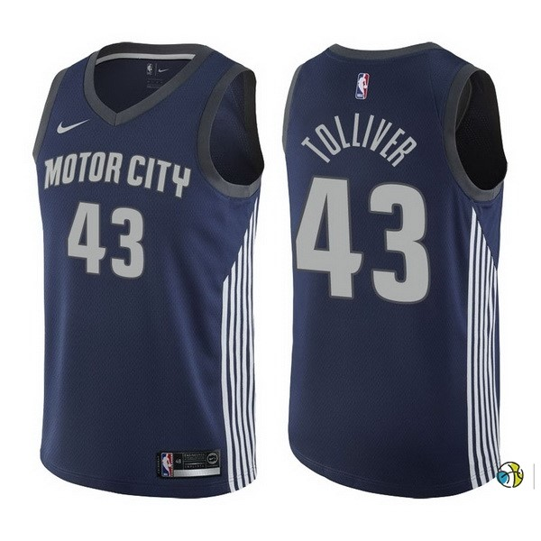 Maillot NBA Detroit Pistons NO.43 Anthony Tolliver Nike Marine Ville 2017-18