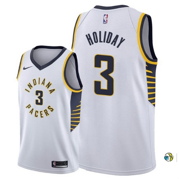 Maillot NBA Indiana Pacers NO.3 Aaron Holiday Blanco Association 2018