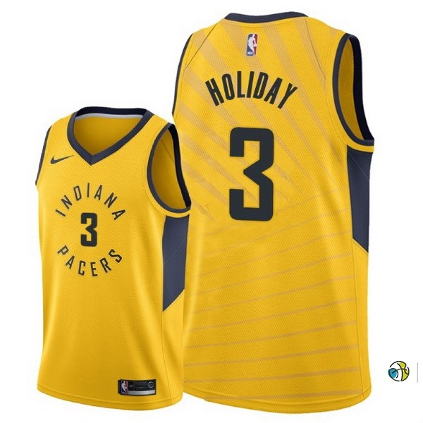 Maillot NBA Indiana Pacers NO.3 Aaron Holiday Jaune Statement 2018