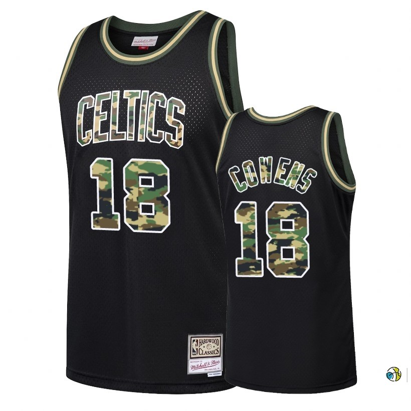 Maillot NBA Camo Feu Droit Boston Celtics NO.18 David Cowens Noir 2018