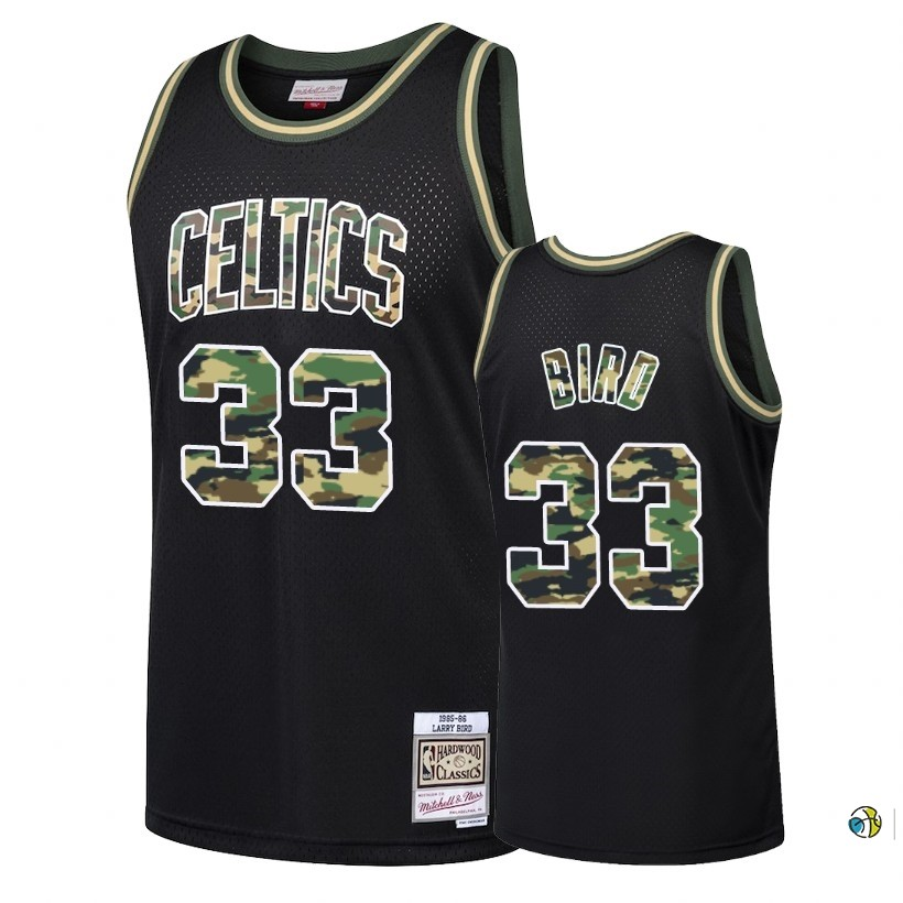 Maillot NBA Camo Feu Droit Boston Celtics NO.33 Larry Bird Noir 2018