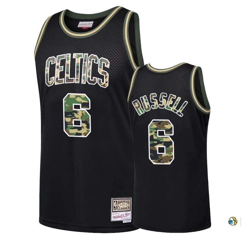 Maillot NBA Camo Feu Droit Boston Celtics NO.6 Bill Russell Noir 2018