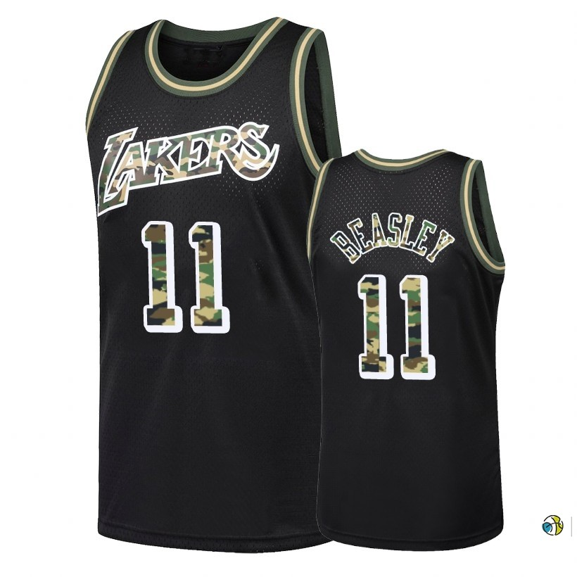 Maillot NBA Camo Feu Droit Los Angeles Lakers NO.11 Michael Beasley Noir 2018
