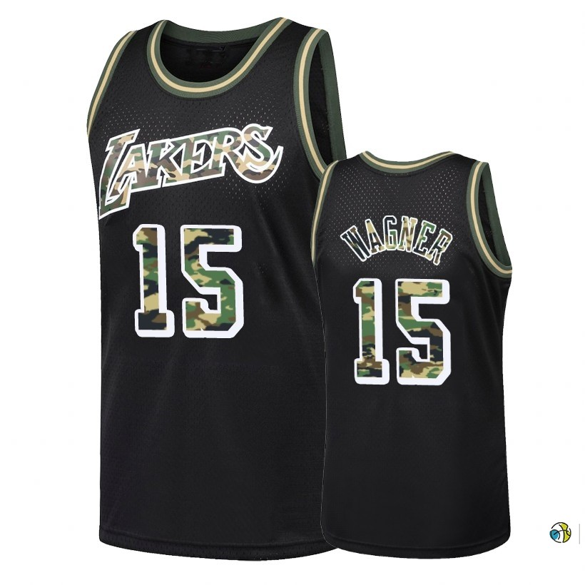 Maillot NBA Camo Feu Droit Los Angeles Lakers NO.15 Moritz Wagner Noir 2018