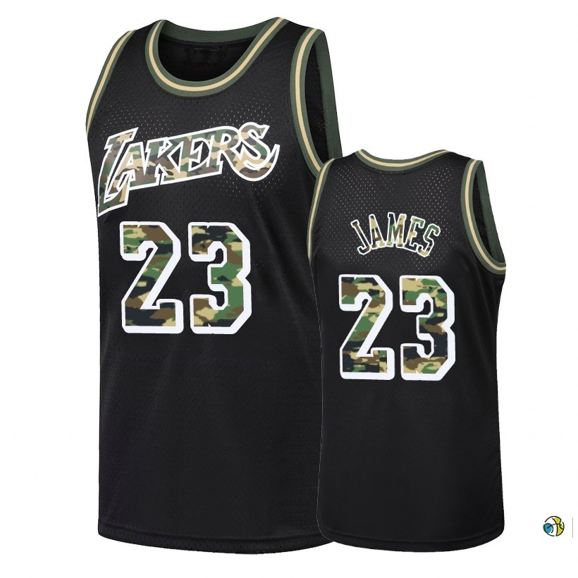 Maillot NBA Camo Feu Droit Los Angeles Lakers NO.23 Lebron James Noir 2018