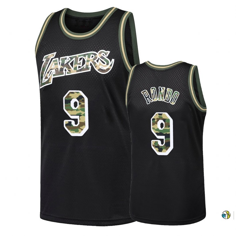 Maillot NBA Camo Feu Droit Los Angeles Lakers NO.9 Rajon Rondo Noir 2018