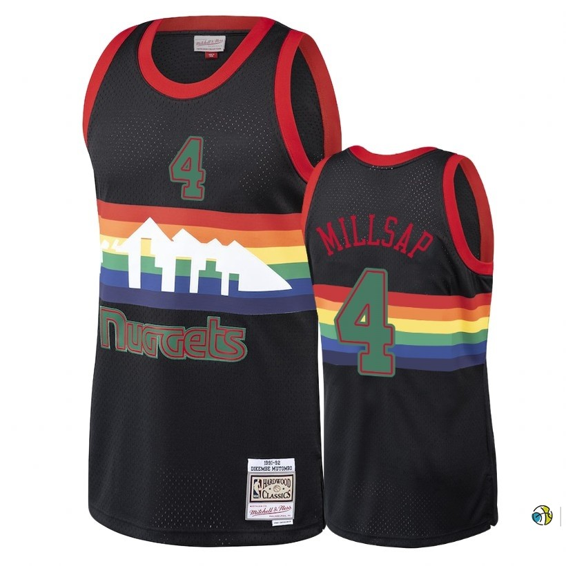 Maillot NBA Denver Nuggets 2018 Noël NO.4 Paul Millsap Retro Noir