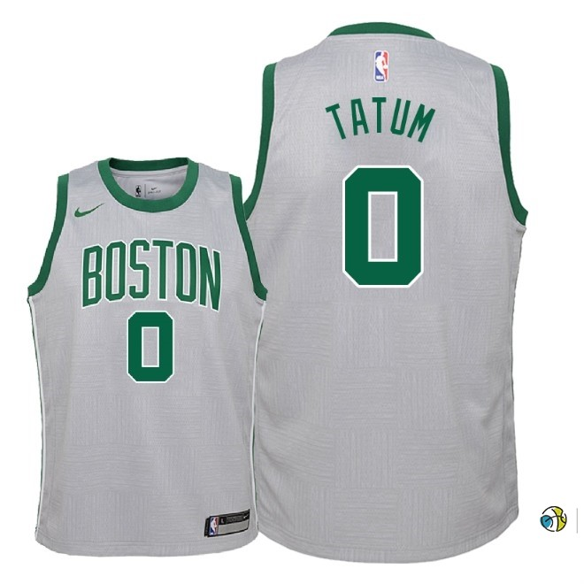 Maillot NBA Enfant Boston Celtics NO.0 Jayson Tatum Nike Gris Ville 2018