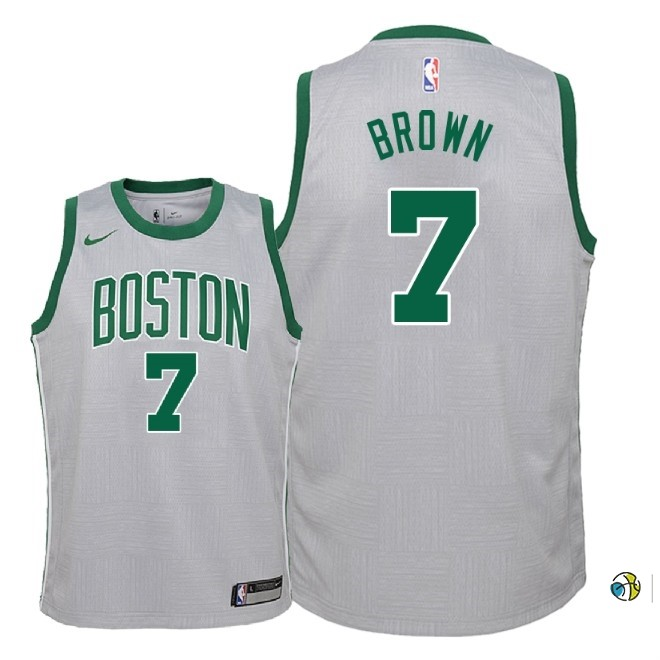 Maillot NBA Enfant Boston Celtics NO.7 Jaylen Brown Nike Gris Ville 2018