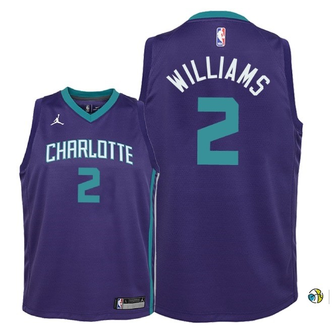 Maillot NBA Enfant Charlotte Hornets NO.2 Marvin Williams Pourpre Statement 2018
