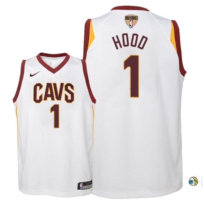 Maillot NBA Enfant Cleveland Cavaliers 2018 Finales Champions NO.1 Rodney Hood Blanc Association Patch