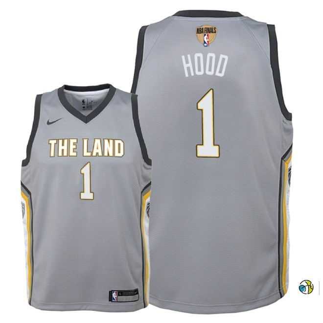 Maillot NBA Enfant Cleveland Cavaliers 2018 Finales Champions NO.1 Rodney Hood Nike Gris Ville Patch