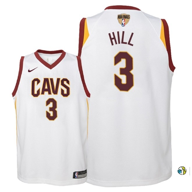 Maillot NBA Enfant Cleveland Cavaliers 2018 Finales Champions NO.3 George Hill Blanc Association Patch