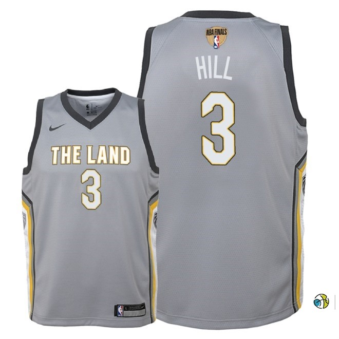 Maillot NBA Enfant Cleveland Cavaliers 2018 Finales Champions NO.3 George Hill Nike Gris Ville Patch