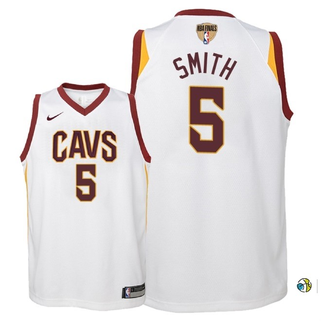 Maillot NBA Enfant Cleveland Cavaliers 2018 Finales Champions NO.5 Jr. Smith Blanc Association Patch