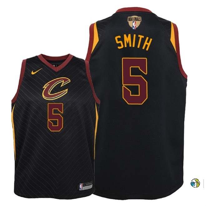 Maillot NBA Enfant Cleveland Cavaliers 2018 Finales Champions NO.5 Jr. Smith Noir Statement Patch
