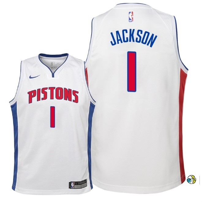 Maillot NBA Enfant Detroit Pistons NO.1 Reggie Jackson Blanc Association 2018