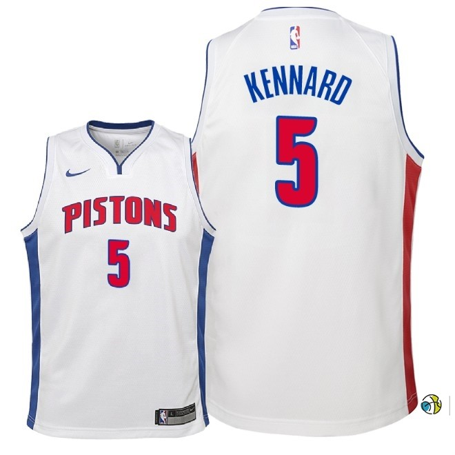 Maillot NBA Enfant Detroit Pistons NO.5 Luke Kennard Blanc Association 2018