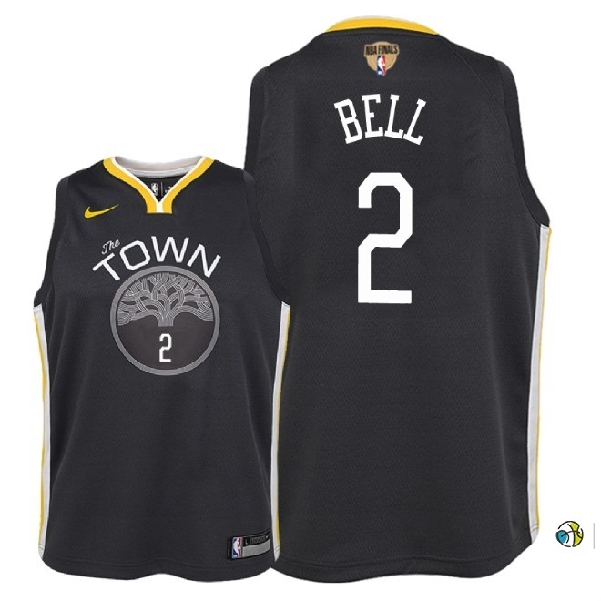 Maillot NBA Enfant Golden State Warriors 2018 Finales Champions NO.2 Jordan Bell Noir Statement Patch