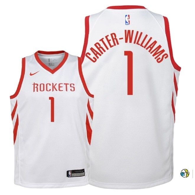 Maillot NBA Enfant Houston Rockets NO.1 Michael Carter Williams Blanc Association 2018