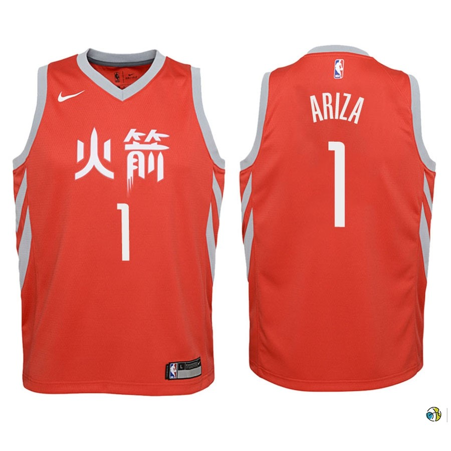 Maillot NBA Enfant Houston Rockets NO.1 Trevor Ariza Nike Rouge Ville 2018