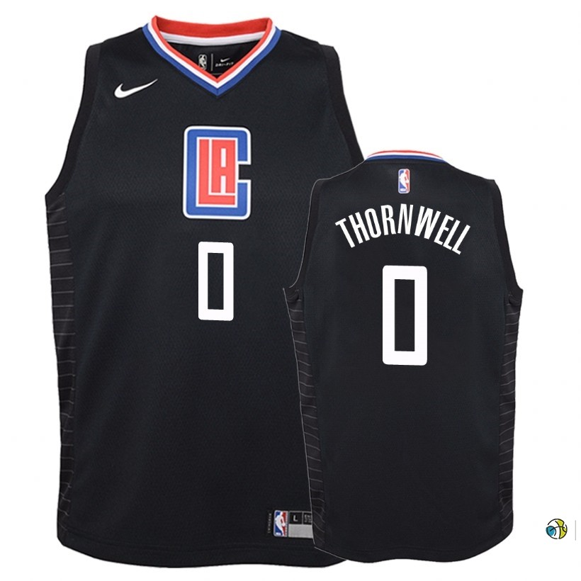 Maillot NBA Enfant Los Angeles Clippers NO.0 Sindarius Thornwell Noir Statement 2018