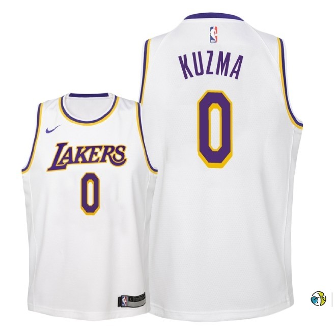 Maillot NBA Enfant Los Angeles Lakers NO.0 Kyle Kuzma Blanc Association 2018-19