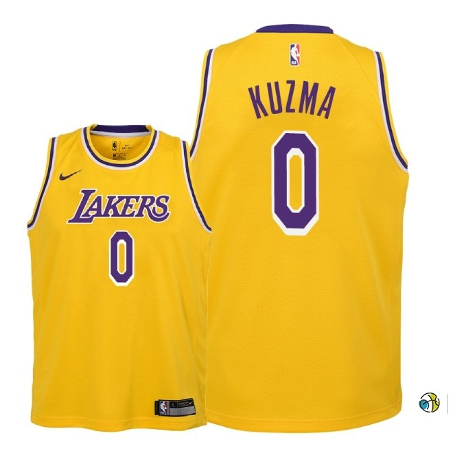 Maillot NBA Enfant Los Angeles Lakers NO.0 Kyle Kuzma Jaune Icon 2018-19