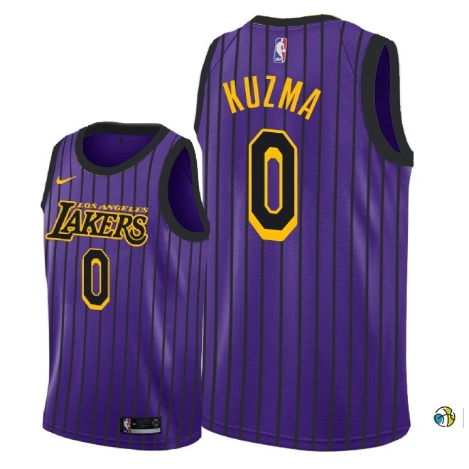 Maillot NBA Enfant Los Angeles Lakers NO.0 Kyle Kuzma Nike Pourpre Ville 2018-19