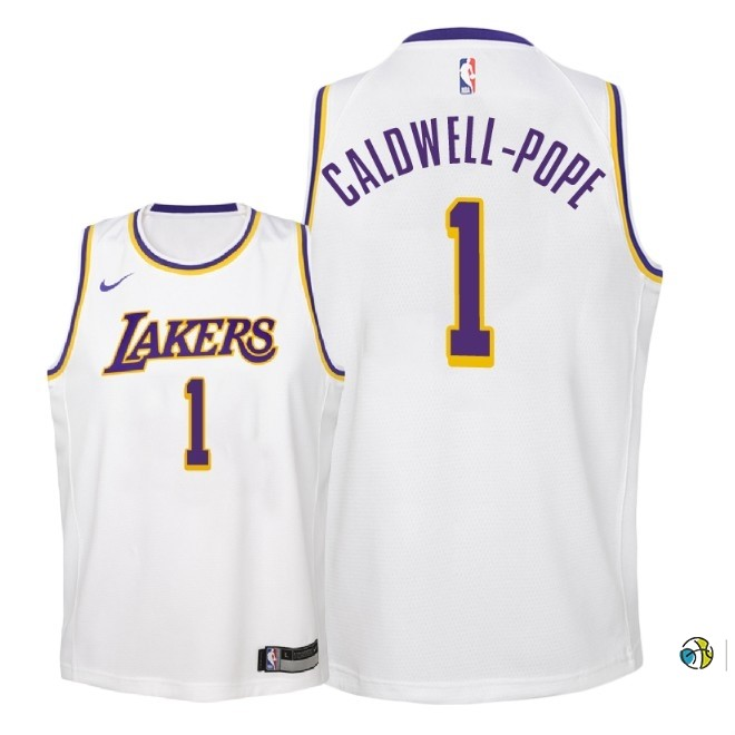 Maillot NBA Enfant Los Angeles Lakers NO.1 Kentavious Caldwell Pope Blanc Association 2018-19
