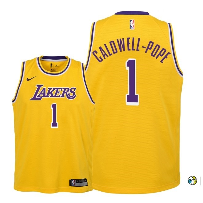 Maillot NBA Enfant Los Angeles Lakers NO.1 Kentavious Caldwell Pope Jaune Icon 2018-19