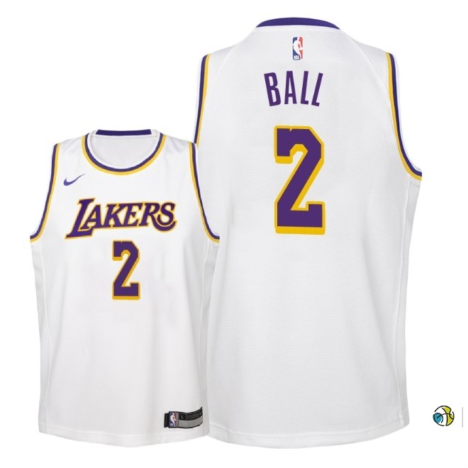 Maillot NBA Enfant Los Angeles Lakers NO.2 Lonzo Ball Blanc Association 2018-19