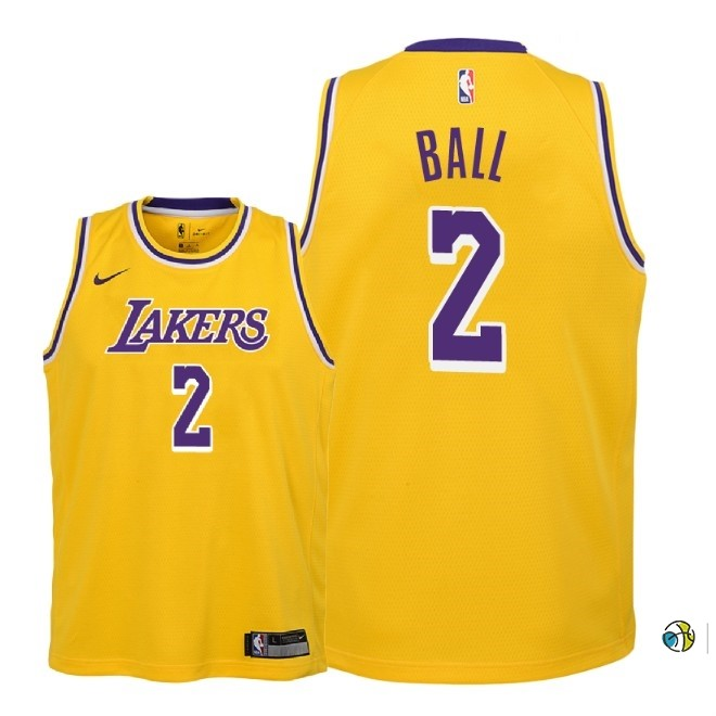Maillot NBA Enfant Los Angeles Lakers NO.2 Lonzo Ball Jaune Icon 2018-19