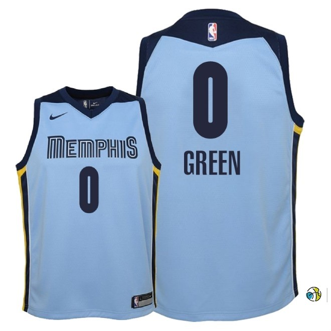 Maillot NBA Enfant Memphis Grizzlies NO.0 Jamychal Green Bleu Statement 2018