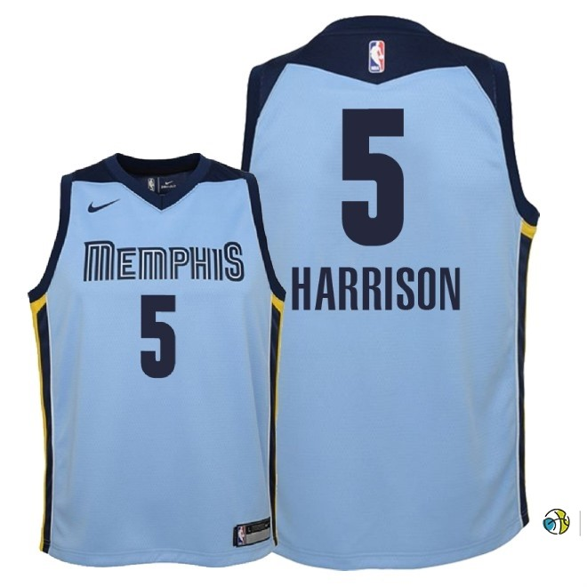 Maillot NBA Enfant Memphis Grizzlies NO.5 Andrew Harrison Bleu Statement 2018