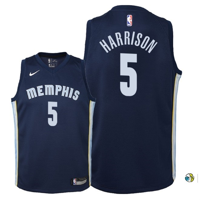 Maillot NBA Enfant Memphis Grizzlies NO.5 Andrew Harrison Marine Icon 2018