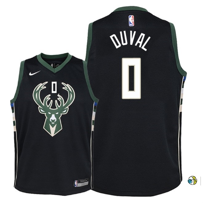 Maillot NBA Enfant Milwaukee Bucks NO.0 Trevon Duval Noir Statement 2018-19