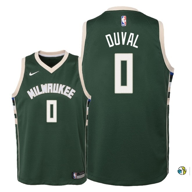 Maillot NBA Enfant Milwaukee Bucks NO.0 Trevon Duval Vert Icon 2018-19