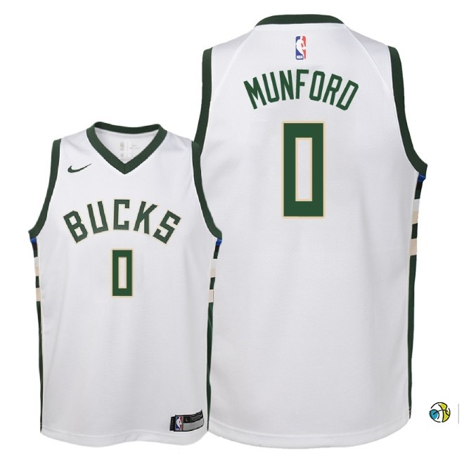 Maillot NBA Enfant Milwaukee Bucks NO.0 Xavier Munford Blanc Association 2018