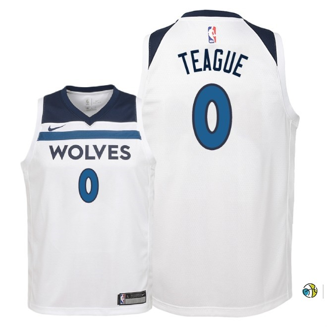 Maillot NBA Enfant Minnesota Timberwolves NO.0 Jeff Teague Blanc Association 2018