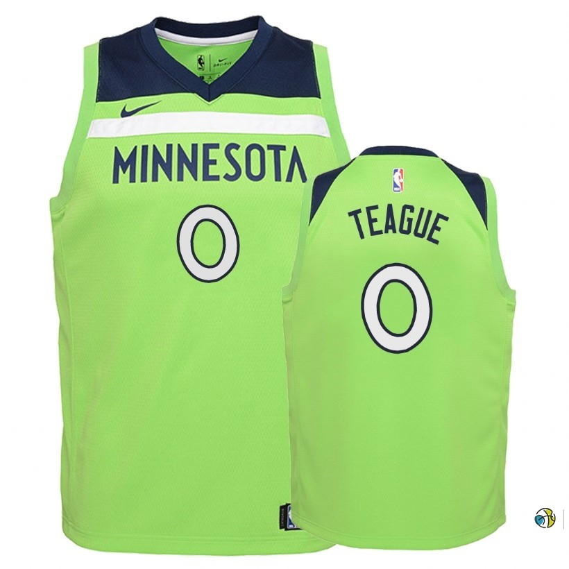Maillot NBA Enfant Minnesota Timberwolves NO.0 Jeff Teague Vert Statement 2018