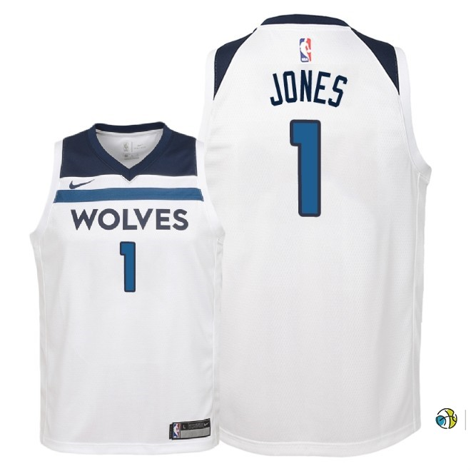 Maillot NBA Enfant Minnesota Timberwolves NO.1 Tyus Jones Blanc Association 2018