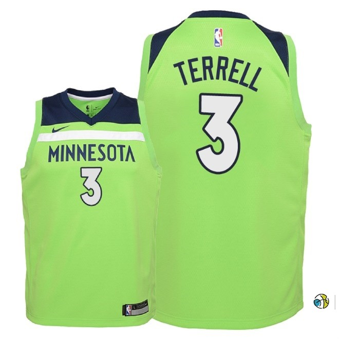 Maillot NBA Enfant Minnesota Timberwolves NO.3 Jared Terrell Vert Statement 2018