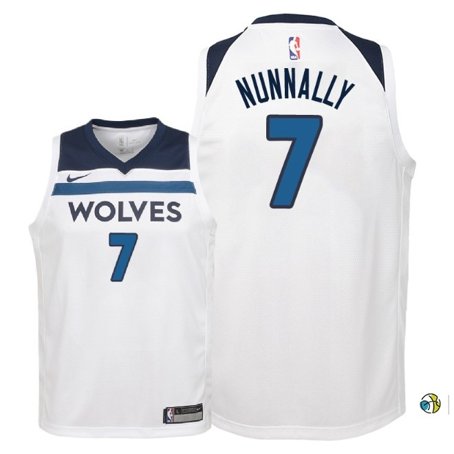 Maillot NBA Enfant Minnesota Timberwolves NO.7 James Nunnally Blanc Association 2018