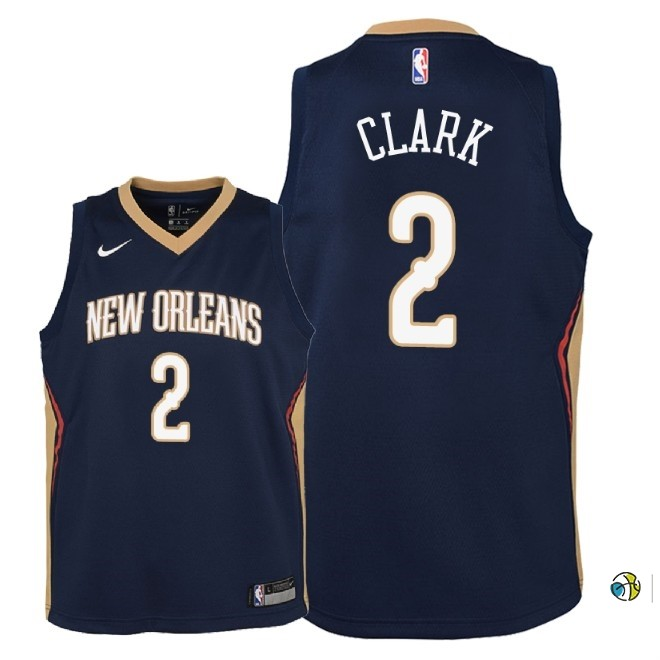Maillot NBA Enfant New Orleans Pelicans NO.2 Ian Clark Marine Icon 2018