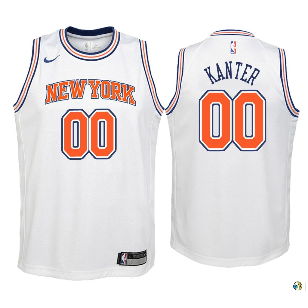 Maillot NBA Enfant New York Knicks NO.0 Enes Kanter Blanc Statement 2018