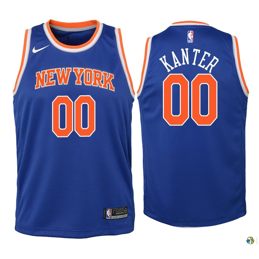 Maillot NBA Enfant New York Knicks NO.0 Enes Kanter Bleu Icon 2018