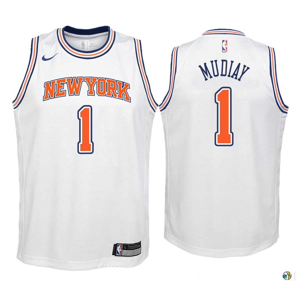 Maillot NBA Enfant New York Knicks NO.1 Emmanuel Mudiay Blanc Statement 2018