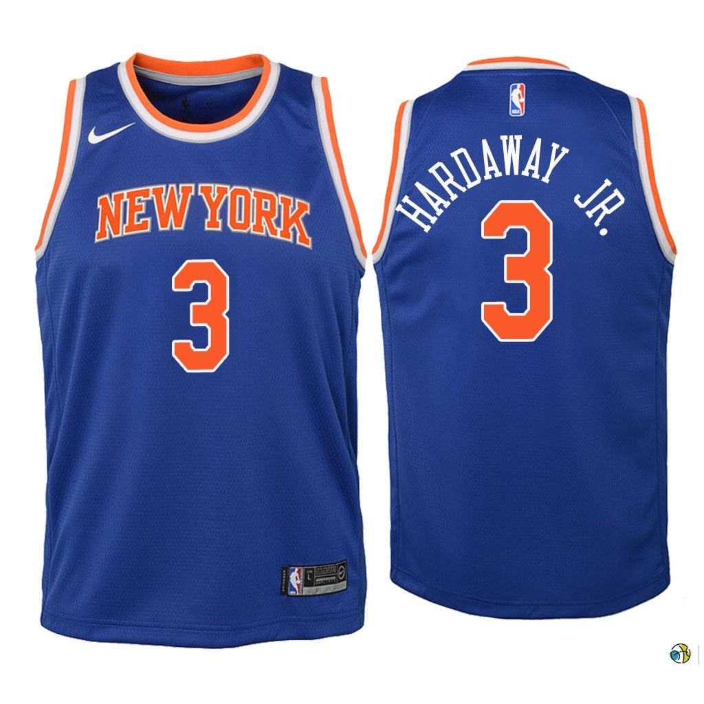 Maillot NBA Enfant New York Knicks NO.3 Tim Hardaway Jr Bleu Icon 2018