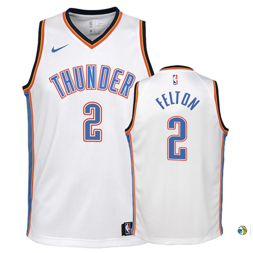 Maillot NBA Enfant Oklahoma City Thunder NO.2 Raymond Felton Blanc Association 2018